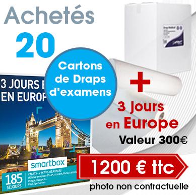 20 cartons de draps d'examen pas cher à 1200 € TTC + 3 jours en Europe