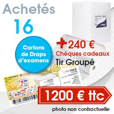 Drap Médical 2 plis collés, blanc. 20 cartons Drap d'examen pas cher. Promotion draps d'examen pas cher